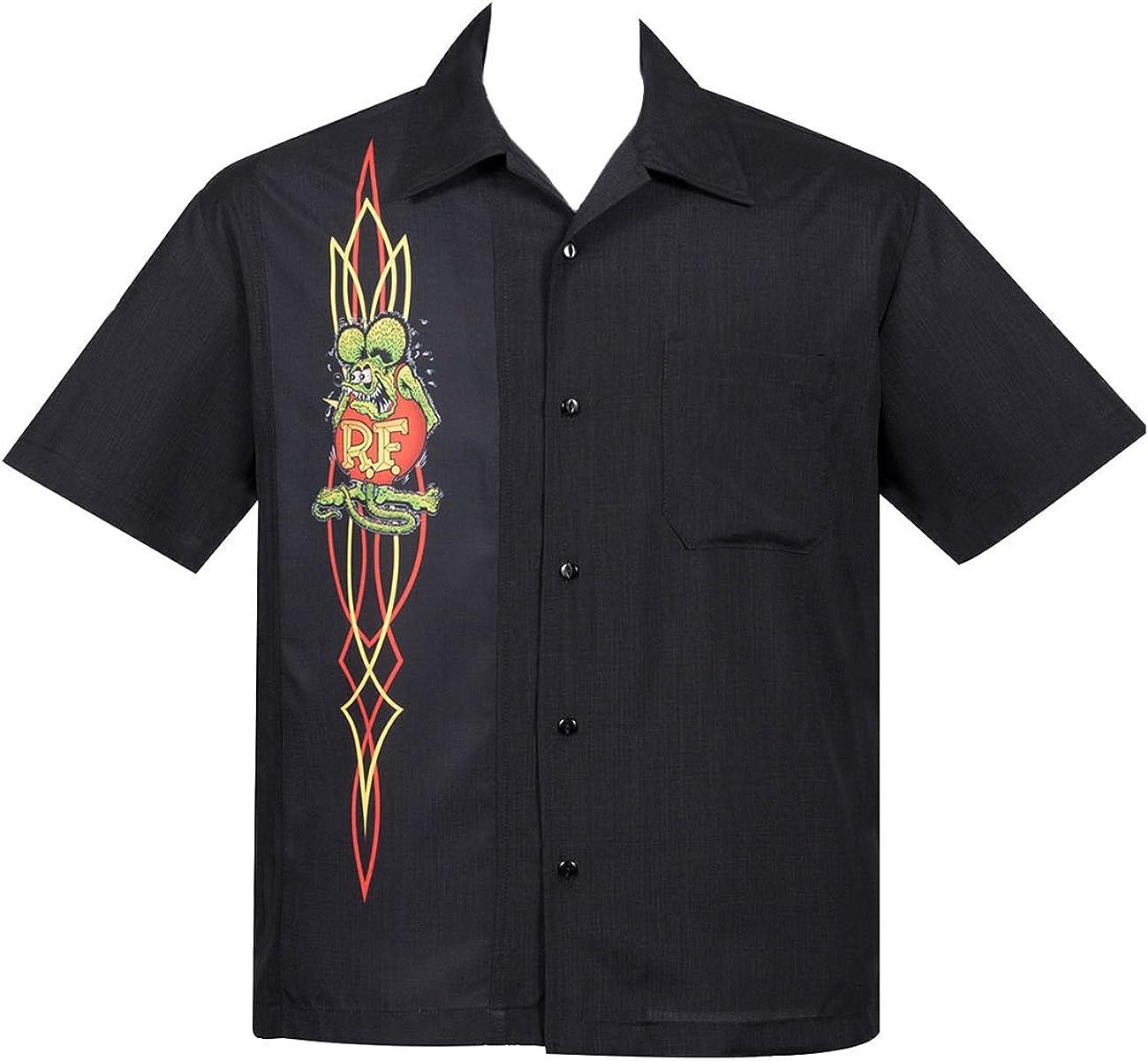 Steady Rat Fink by Clothing Pinstripe Panel Rockabilly Bowling - Camiseta para hombre Negro S: Amazon.es: Ropa y accesorios
