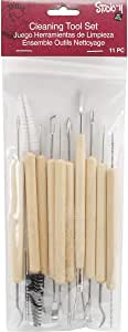 Darice 11-Piece Clay Tools Set from Studio 71 – Metal Tipped Clay Sculpting Tools with Wood Handles, Ideal for Cleaning and Creating Decorative Effects on Clay Surfaces