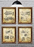 "John Deere Gifts for Tractor Lovers! - Set of Four 8""x10"" John Deere Tractor Patent Prints"