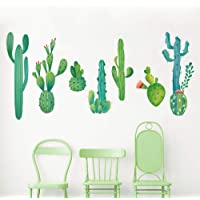 decalmile Large Cactus Wall Decals Green Plants Watercolor Cactus Wall Stickers for Living Room Bedroom Home TV Wall Decor