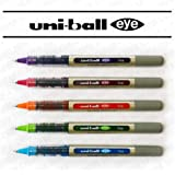 Pack of 6 Assorted Colours uni-ball Eye Needle UB-187S Fine Rollerball Pen