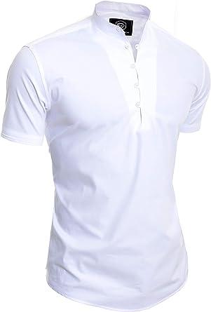 D & R Fashion Camisa de Manga Corta para Hombres Collar de Abuelo ...