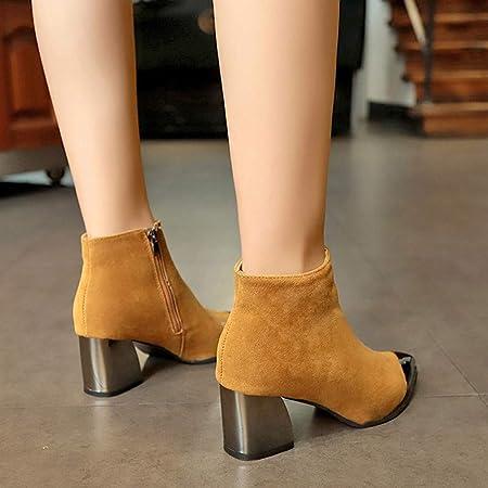 Botas para Mujer Moda Invierno ZARLLE Moda Mujeres Punta Estrecha Suede Zapatos de cuña de tacón Boots Bota de Cremallera Botas de Moto Zapatos Interiores: ...