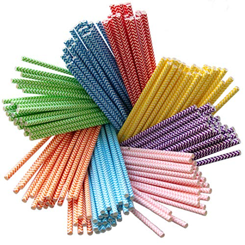 Terra Products 200 Pack Biodegradable Paper Straws 8 Colors Rainbow Chevron for Juices, Shakes, Smoothies, Party Supplies Decorations Drinking Straws Bulk Paper Straws ()