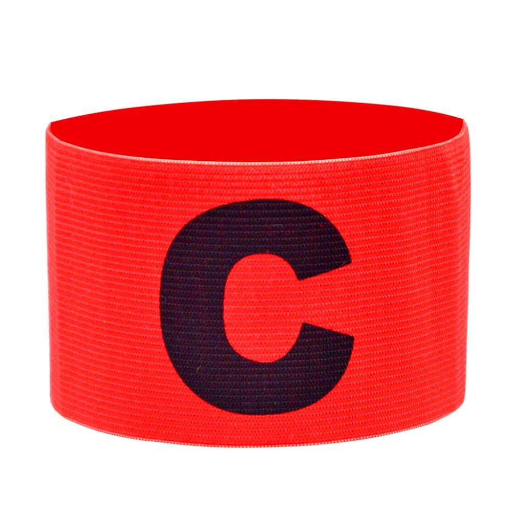 Little Sporter Fußballarmband Kapitän Marke für Fußball C Drucken Elastic Orange Red 2 Stück