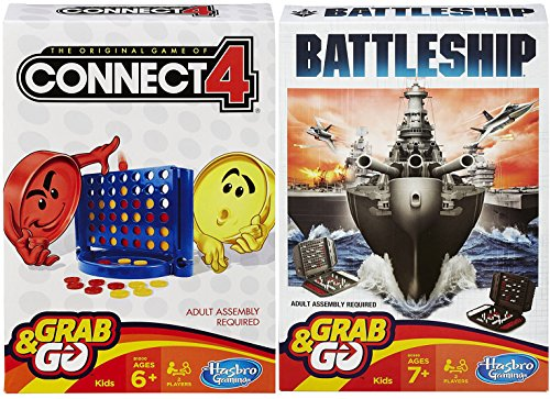 Grab & Go Classic Connect Four Mystery Game & Battleship Board Games Travel version 2-pack fun time game time!
