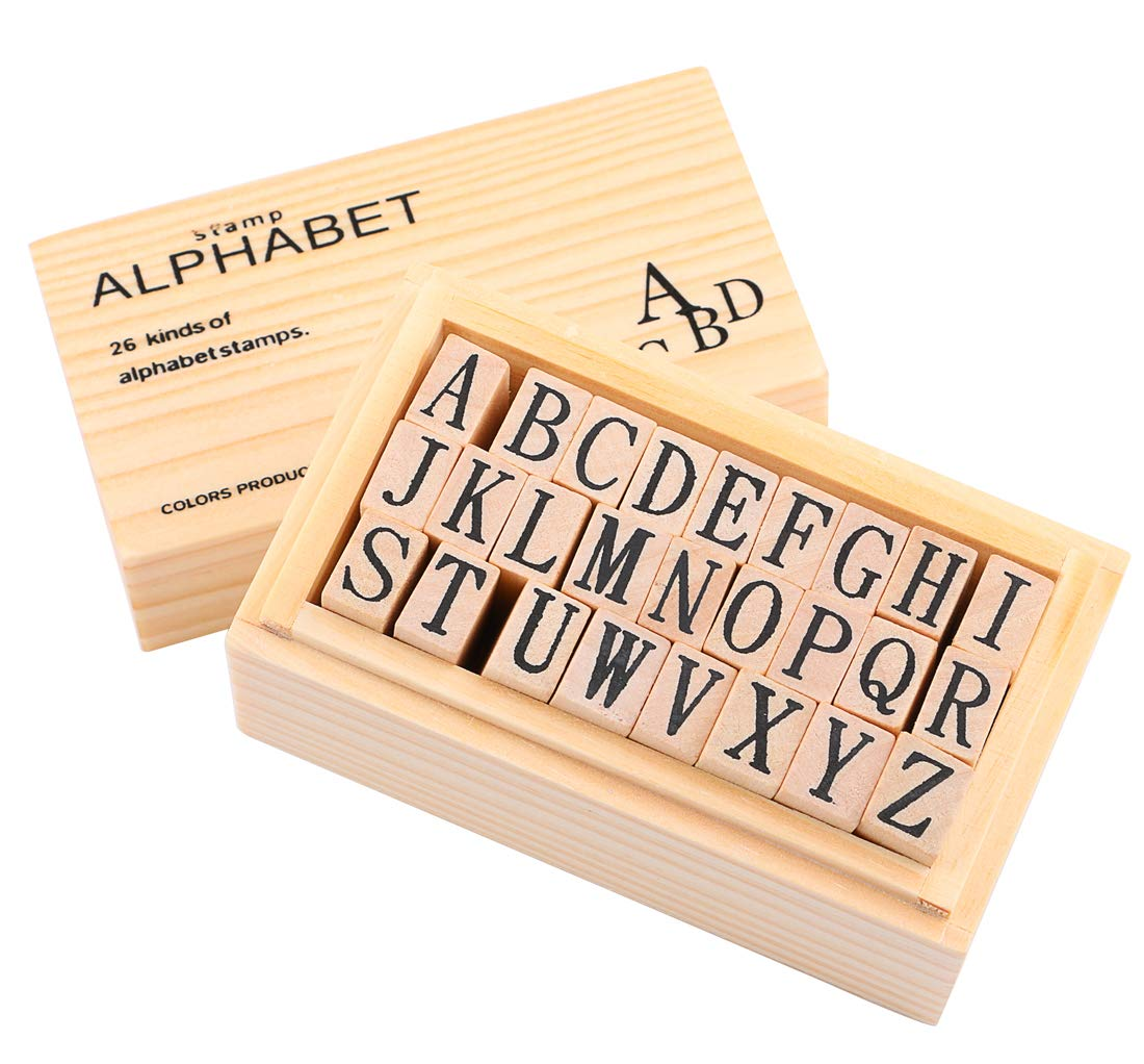 Wooden Rubber Number Letter, Dedoot 70 pcs Alphabet Stamps Vintage Wooden Rubber Letter Number and Symbol for Card Making Painting Teaching DDT-030-wxy