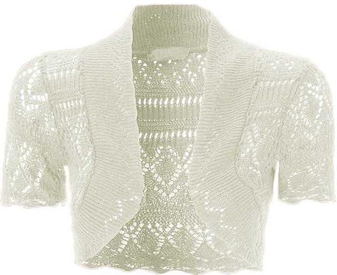 Neueste Mode hohe Qualitätsgarantie neu authentisch Kurze Damen-Strickjacke, gehäkelt, vorne offen, kurze Ärmel, Strick-Bolero