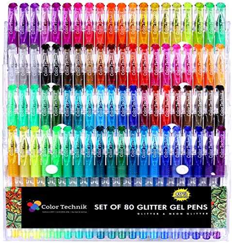 Color Technik Glitter Gel Pens, Set of 80 Glitter and Neon Glitter Pens, Best Assorted Colors, No Duplicates, 40% More Ink, Enhance Your Adult Coloring Book Experience Now, Idea!