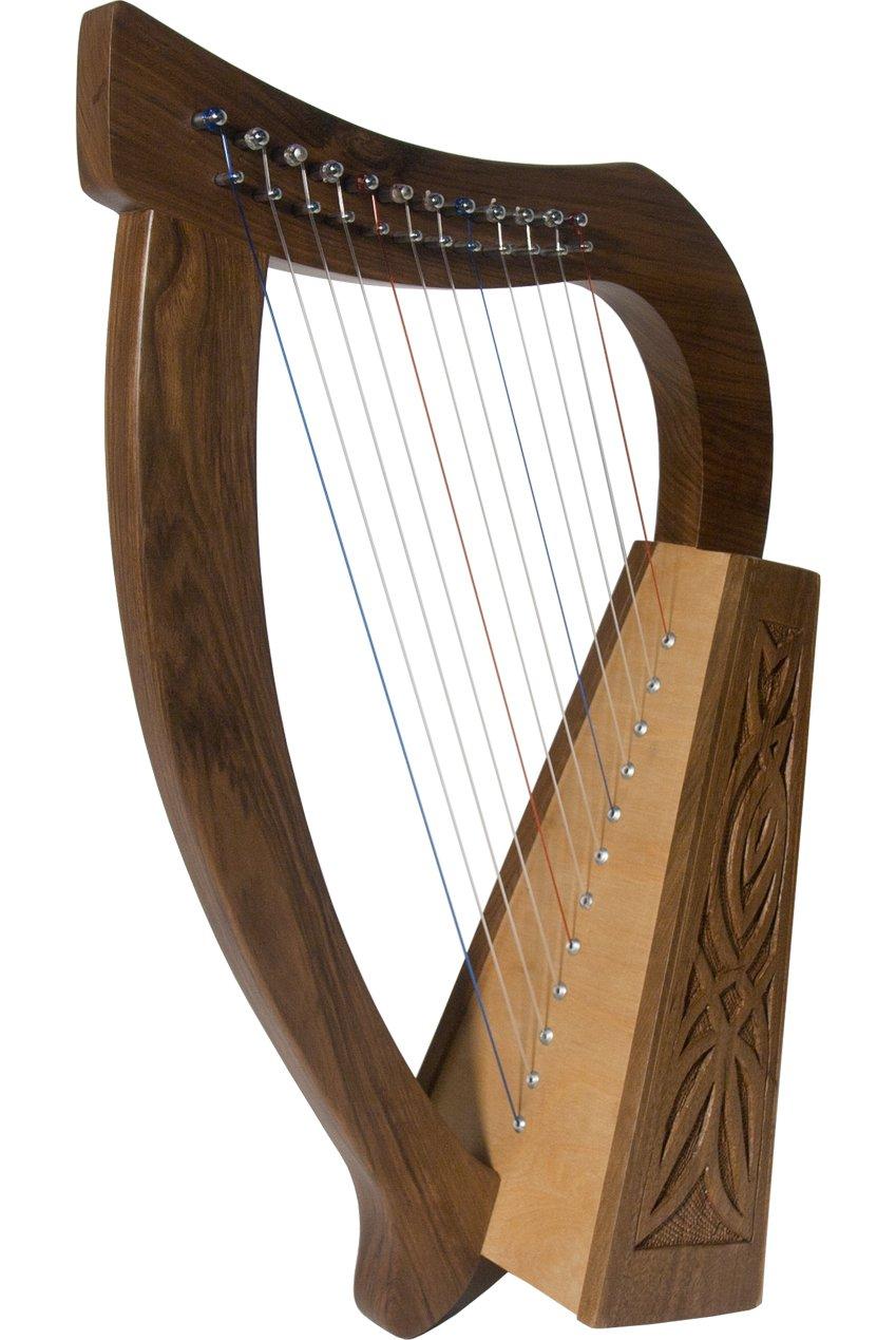 Roosebeck Baby Celtic Harp 12-String w/Knotwork Design - Walnut Wood