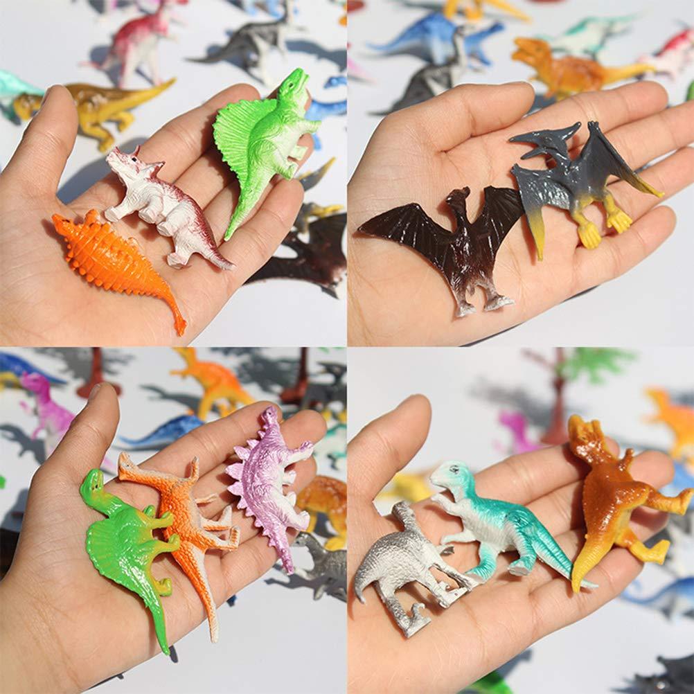 Jouet de mod/èle de Dinosaure avec Accessoires de sc/ène de cl/ôture darbre Yeahibaby Mini Jeu de Jouets de Dinosaures Paquet DE 46