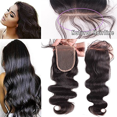 JAHUI Hair Brazilian Body Wave 3.5''x4''Lace Closure Unprocessed Virgin Hair Top Closure Bleached Knots with Baby Hair (8inch Free part) by JAHUI Hair