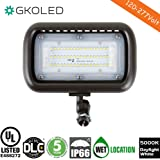 """GKOLED 45W Outdoor Security LED Flood Lights, Waterproof, 150W PSMH Equivalent, 5400 Lumens, 5000K Daylight White, 70CRI, UL-Listed & DLC-Qualified, 1/2"""" Adjustable Knuckle Mount, 5 Years Warranty"""