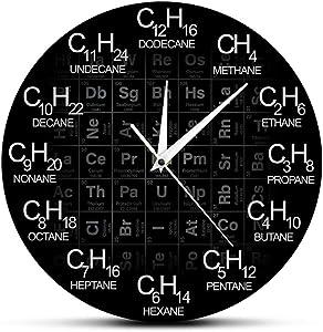 Black Wall Clock Modern Chemical Elements Design Science Chemistry Symbol Clock Periodic Acrylic Wall Clock Home/Office/School Clock Teacher Gift