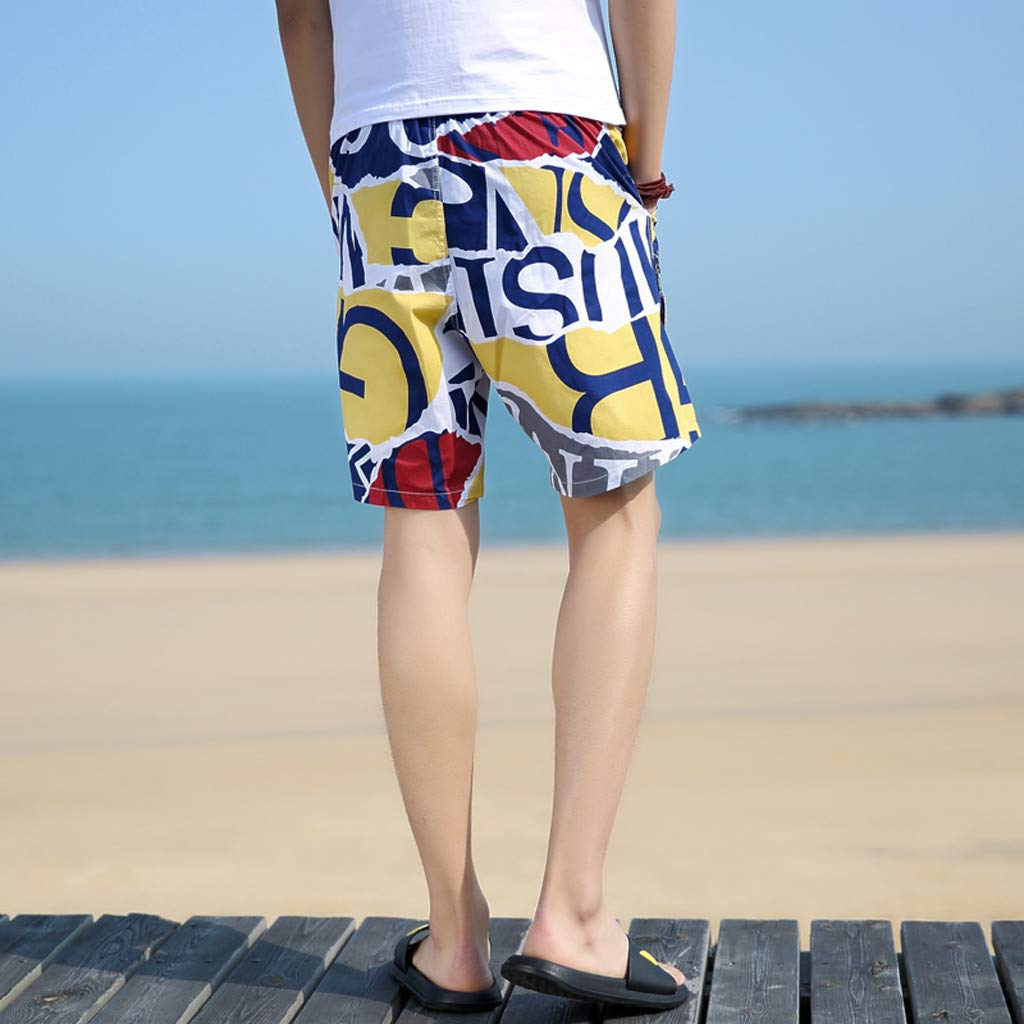 NUWFOR Men's Summer New Cotton Printed Short Sleeves Fashion Loose Size Beach Pants(Yellow,US L Waist:28.35-36.22'') by NUWFOR (Image #3)