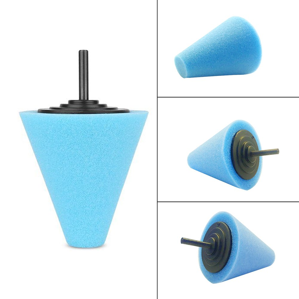 Lenmumu Drill Buffing Sponge Pads Kit 3 Pack, 1/4''/6mm Metal Polishing Tool Cone Foam Pad Polisher Buffer Sponge Ball for Automotive Car Wheels Hub Care by Lenmumu (Image #3)