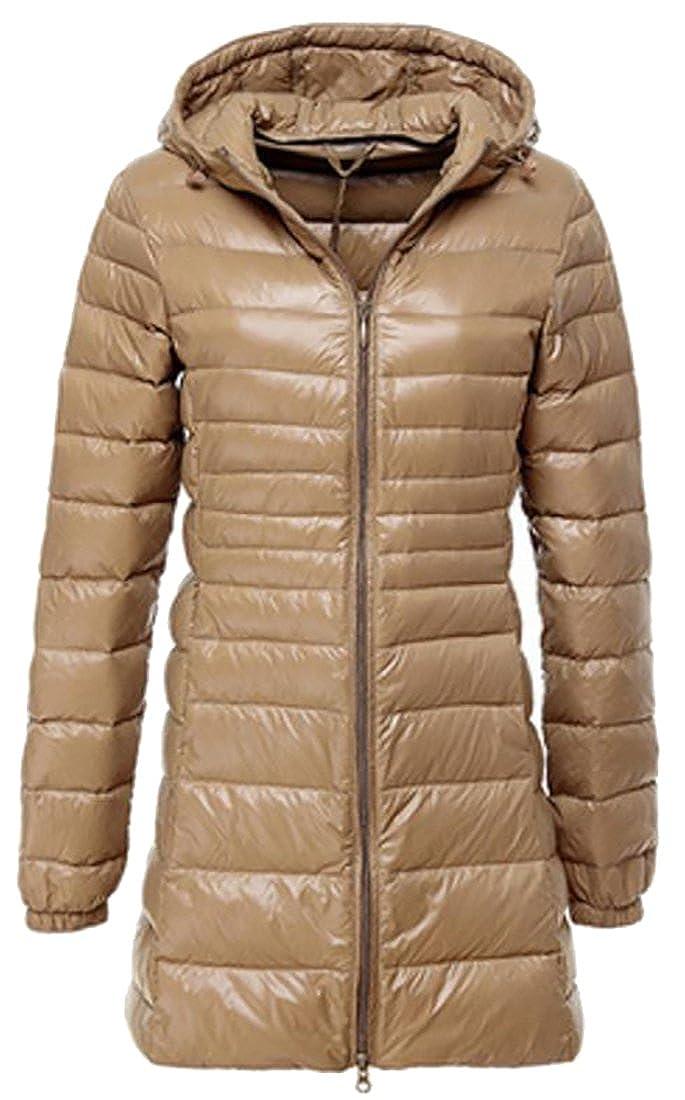 Pandapang Womens Slim Fit Ultra Light Down Compact Hooded Coat Jackets