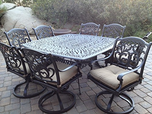 Mandalay Outdoor Patio 9pc Dining Set Dark Bronze Color Cast Aluminum (Walnut)