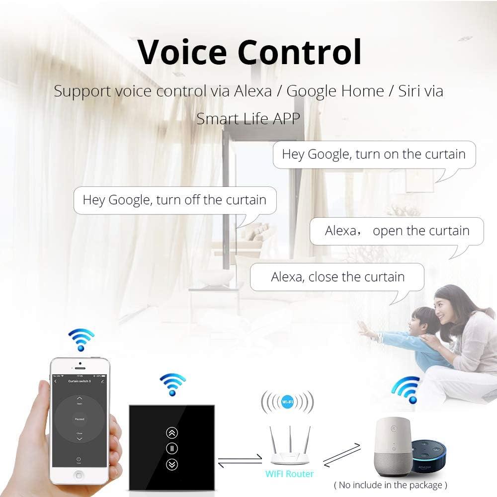 110V-240V,Neutre n/écessaire Interrupteur mural Wi-Fi pour volets roulants fonctionnant via application ou commande vocale Alexa,Siri