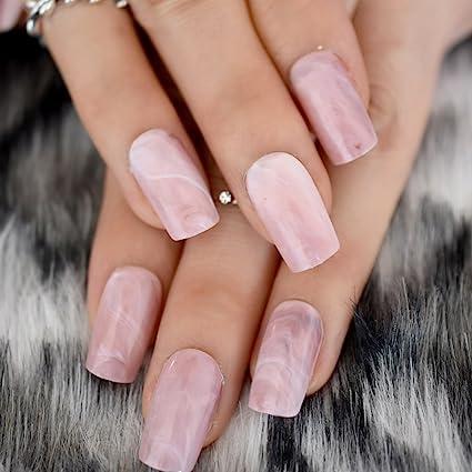 EchiQ - Puntas de uñas postizas con cabeza cuadrada de mármol rosa, uñas acrílicas falsas
