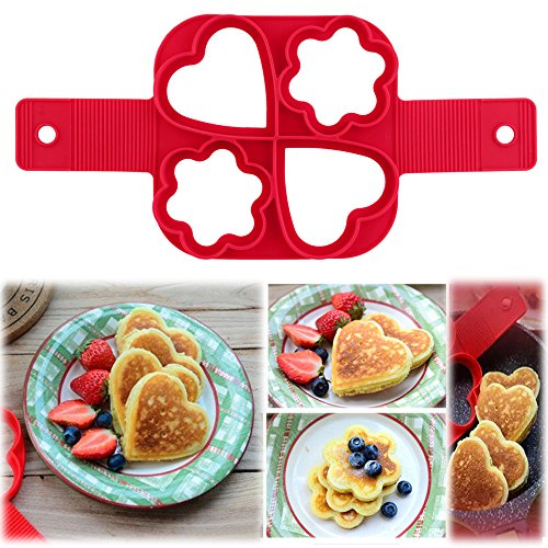 Pancake Maker Mold, Elevin(TM) Fantastic Fast & Easy Way to Make Perfect Cooking Four Holes DIY Pancakes Tool