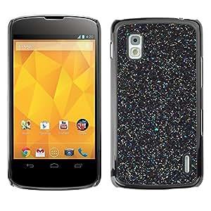 TopCaseStore / la caja del caucho duro de la cubierta de protección de la piel - Black Wonder Scatter Stars Paint - LG Google Nexus 4 E960