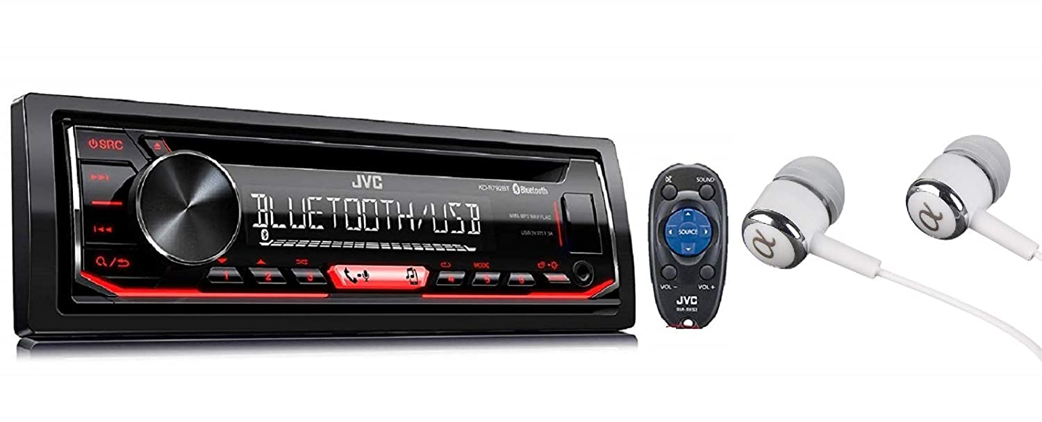 JVC Single-Din Built-in Bluetooth, Dual Phone Connection, Android Music Playback, CD MP3 AM/FM USB AUX Input Car Stereo Player, Pandora Spotify Control iHeart Radio Receiver w/FREE ALPHASONIK EARBUDS