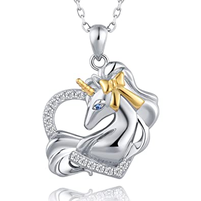 42a208e08 Image Unavailable. Image not available for. Color: BEILIN Sterling Silver  925 Unicorn Pendant Necklace Gifts Jewelry for Women Girls