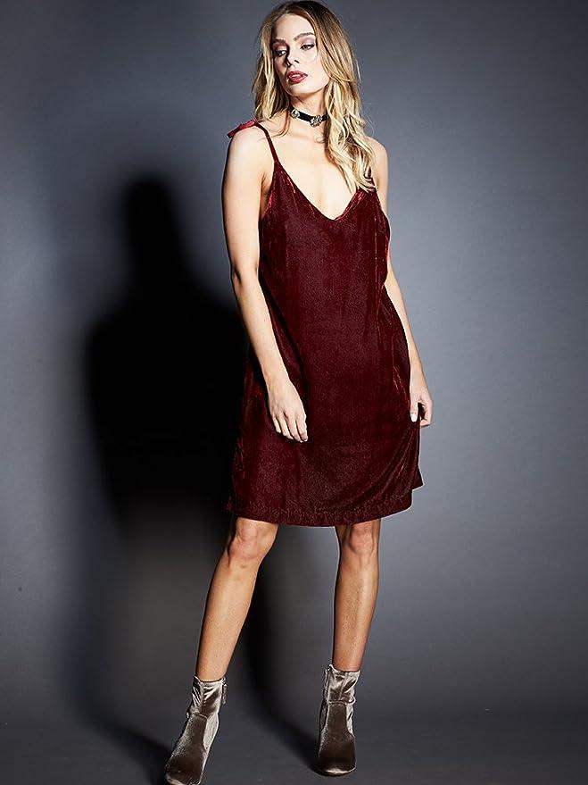 be1493710e6 Gypsy05 Women s Easy Velvet Slip Dress W  Tiable Straps Kata Red at Amazon  Women s Clothing store