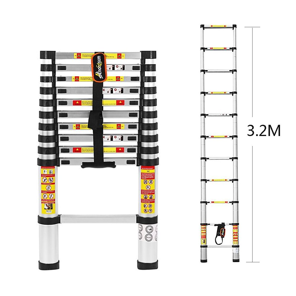 3.2 M Telescopic Ladder Aluminum Folding Ladder with Finger Protection Gaps and Conforms to EN131, SGS and CE Standards by Anordsem