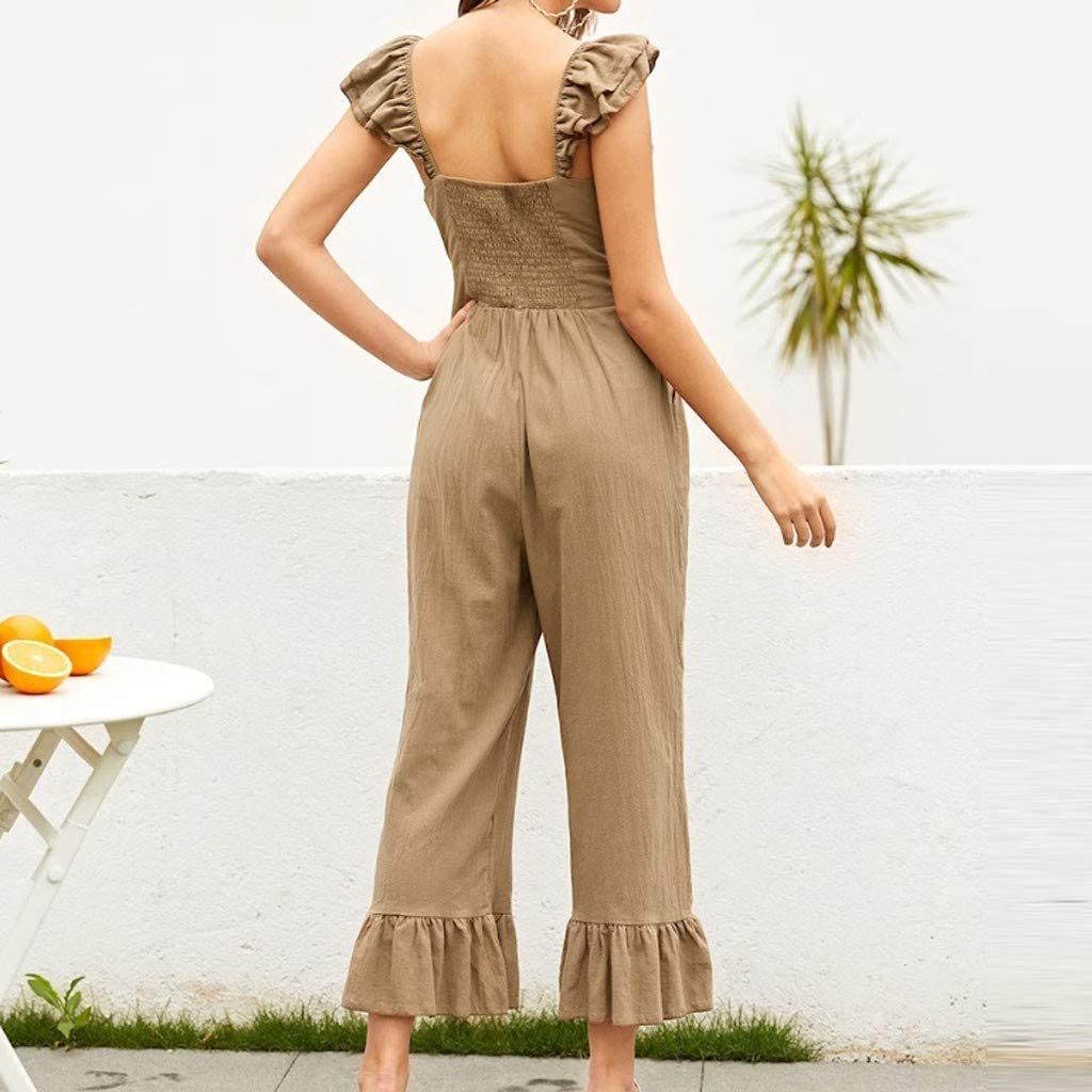 Abetteric Women Elastic Washed Jean Mid Waist Overalls Long Jumpsuits