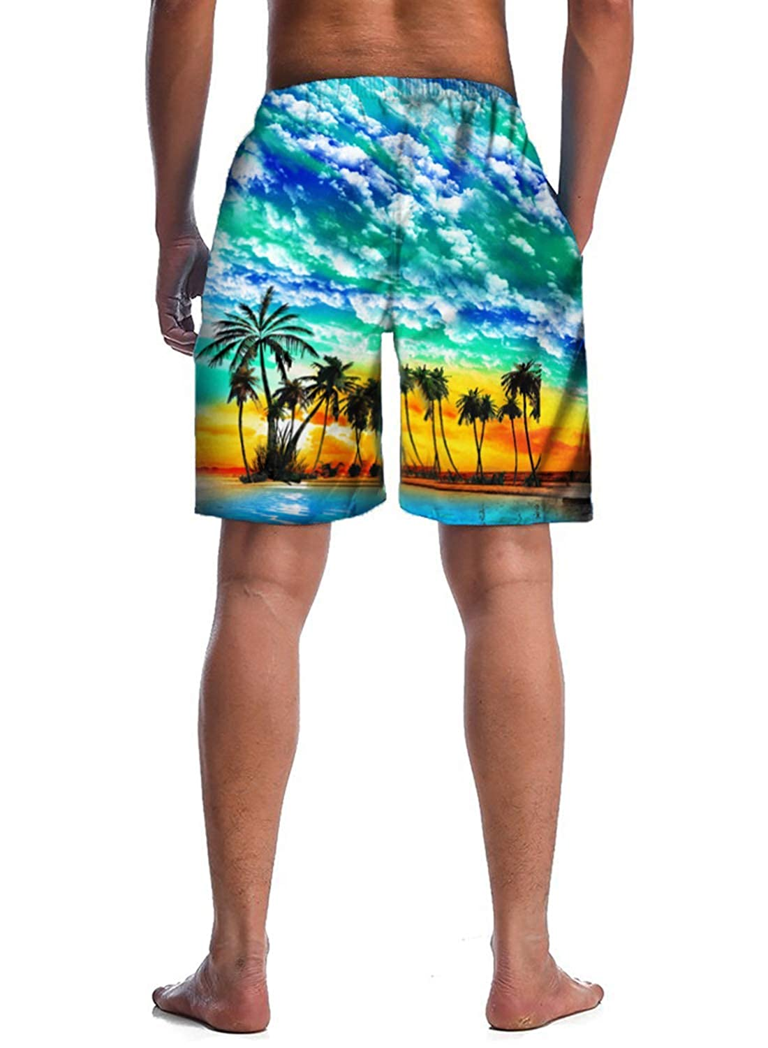 Enlifety Mens Swim Trunks 3D Print Quick Dry Beach Board Shorts with Mesh Lining