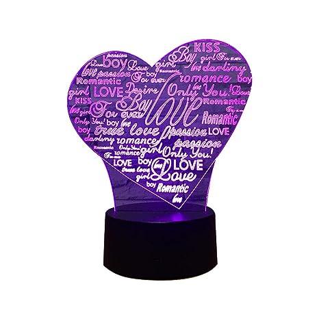 Topofly Led lampe Coeur Nuit Coeur 3d Love Veilleuse De Illusion lPkuwOXZiT