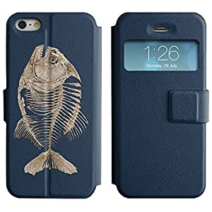 BONETI Diamond Folio Slim Leather Case Smart Cover with Built-in Stand & Window Function / Fishbone Fish Skeleton / Apple Iphone 5 / 5S