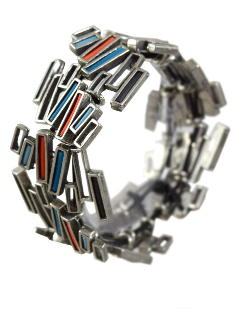 Modernist Collection: Pewter Stacks Stretch Bracelet by Modern Artisans