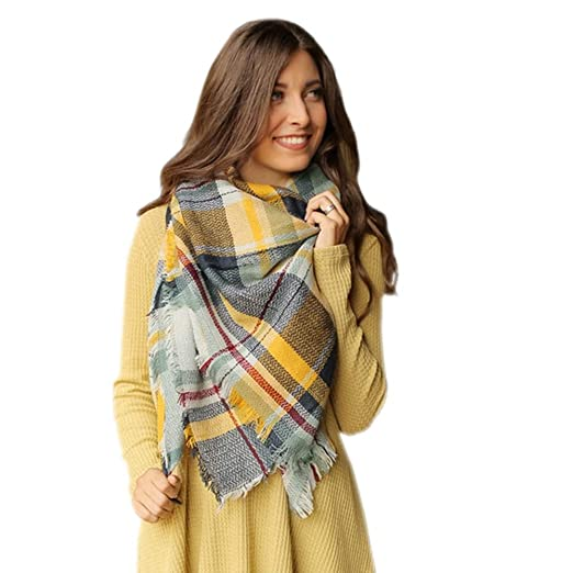 2162a3ead Image Unavailable. Image not available for. Color: Blanket Scarf Wrap  Tartan Checked Winter Scarf Shawl ...
