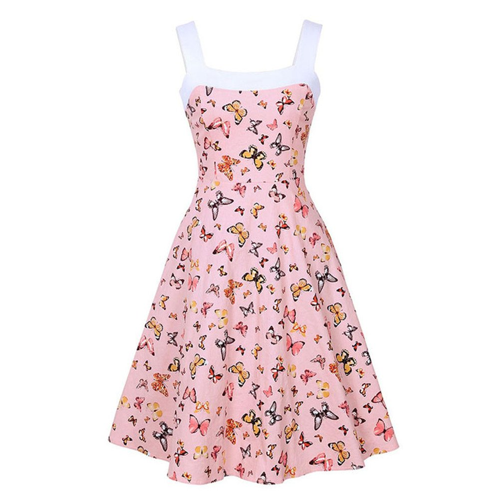 Vintagesummer Sleeveless Spaghetti Strap A-Line Backless Patchwork Print Dress Pink M