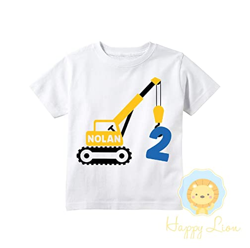 ab3d003bfb6 Amazon.com  Happy Lion Clothing - Construction themed birthday shirt for toddler  boys 2nd 3rd 4th