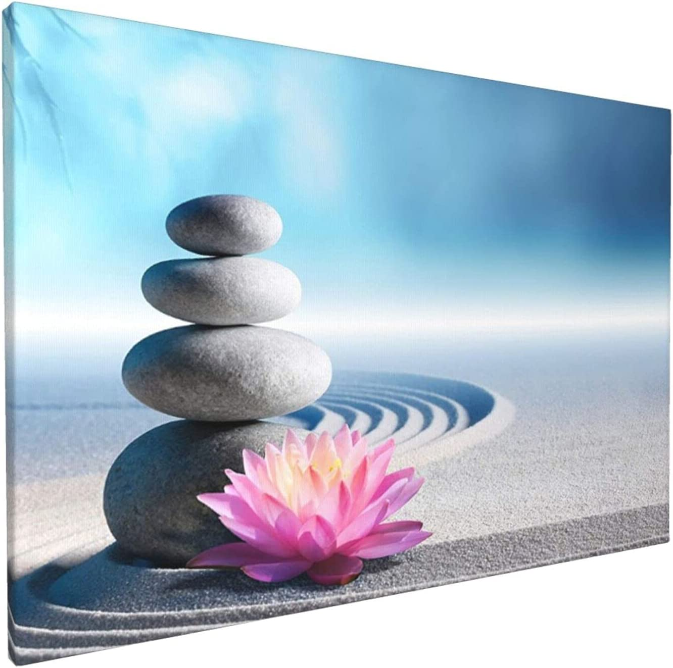 Relaxing River Rocks In Zen Garden Canvas Wall Art For Living Room Bedroom Decoration Wall Painting, Home Decoration Kitchen Posters Artwork,Inspirational Wall Art