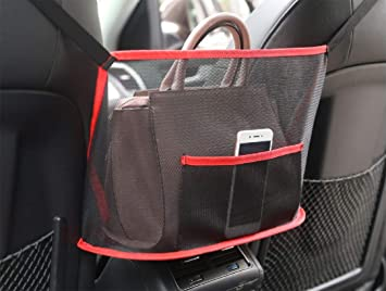 Black Barrier of Backseat Pet Kids Universal Car Accessories Storage and Handbag Holding Net HENXING Car Net Pocket Handbag Holder Hanging Storage Bag Between Car Seats