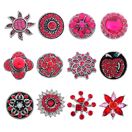 Souarts Pack of 12pcs Mixed Red Rhinestone Snap Button Jewelry Charms