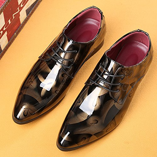 Shoes Low Oxfords Shoes Business PU Formal Leather Top Classic Lined Abstract Leather Painting Large Smooth Brown Shoes up Men's Extra Lace Loafers Leather wHpzq66