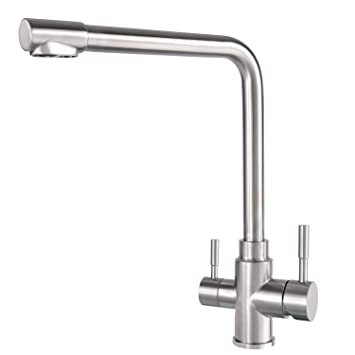 Grifo de filtro de agua de 3 vías giratorio de acero inoxidable para fregadero de cocina, agua potable pura