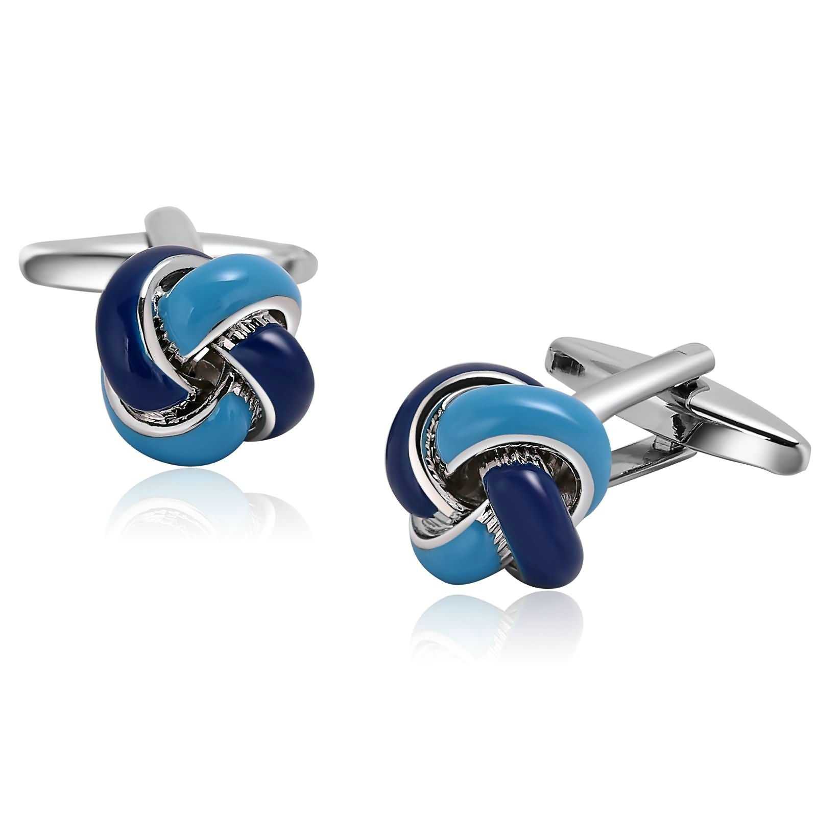 Aokarry Cufflinks-Men's Stainless Steel Love Knot Cuff Links Blue by Aokarry (Image #1)