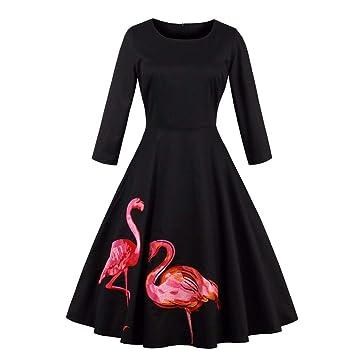 Amazon.com: Vestido de otoño para mujer, estilo vintage, de ...