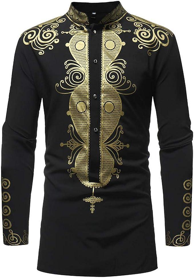 BYWX Men Ethnic Print Long Sleeve Casual Plus Size Dashiki Tee T-Shirts