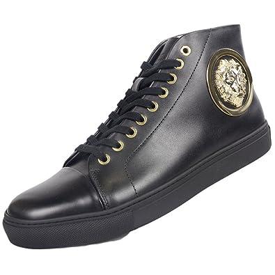 6d66e306e7 Versace Versus FSU564C Leather High Top Black Trainer 11: Amazon.co ...