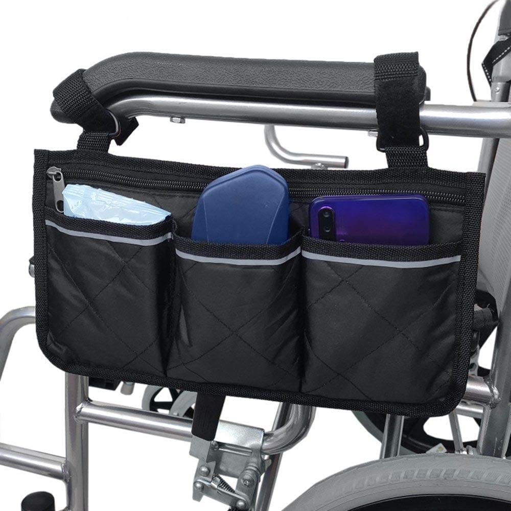 Wheelchair Side Bag-Mobility Aid Package-Great for Electric Wheelchairs, Electric Scooter, Walker Accessories, Lightweight Nurse Bag and Organizer for Medical Chairs(Black)