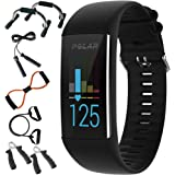 Polar A370 Fitness Tracker with 24/7 Wrist Based HR, Black + 7-in-1 Fitness Kit