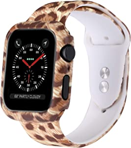 Konafei Compatible with Apple Watch Band with Case 44mm 42mm 40mm 38mm, Women Men Soft Silicone Floral Pattern Sport Strap Compatible with iWatch Series SE/6/5/4/3/2/1 (Leopard, 40MM)